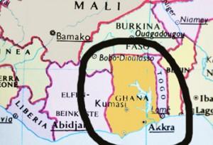 Landkarte mit Ghana