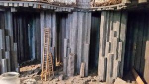 Modell des unterirdischen Basaltabbaus in den Lavakellern vom Mendig